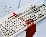 Blood on a computer keyboard