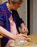 Elderly woman smoking