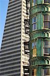 Le renforcement des sentinelles et la Transamerica Building, San Francisco, Californie, USA