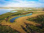 Vue aérienne des terres agricoles, à Delta Marsh, Manitoba, Canada