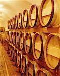 barrels of wine in a winery