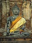 Statue de Bouddha, ruines d'Ayutthaya, Thaïlande