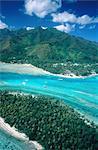 Vue aérienne de l'île de Moorea, Polynésie