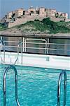 France, corsica, cruising near Calvi, swimming pool on board