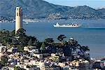 Coit Tower and San Francisco Bay, San Francisco, California, USA