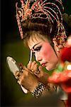 Chinese Opera Performer Applying Make-Up