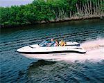 People in Speedboat, Sarasota Bay, Florida, USA