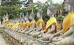Rangée de Bouddhas, Wat Phra Ram, Ayutthaya, Thaïlande