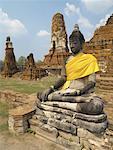Buddha Figure at a Wat in Ruins at Ayutthaya, Thailand