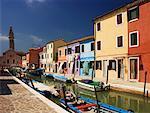 Houses and Boats, Island of Burano, Venetian Lagoon, Italy