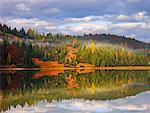 Reflet des arbres dans le lac Ferchensee, Bavière, Allemagne