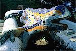 Espagne, fontaine de Barcelone, le parc Guell, de la salamandre