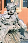 Italie, fontaine de Rome, Piazza Navona, du détail de Neptune