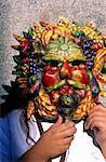 Italie, Venise, pendant le carnaval, masque, fabriqué à partir de fruits et légumes