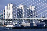 The Netherlands, South Holland, Rotterdam, freighter under the Erasmus Bridge