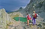 France, Alps, La Clarée lake, backpackers