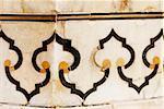 Close-up of marble inlay on the wall, Taj Mahal, Agra, Uttar Pradesh, India
