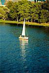 Sailboat on a river, Boston, Massachusetts, USA