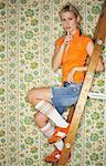 Portrait of Woman on Ladder