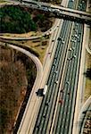 Vue aérienne d'interstate entourant, Washington, DC