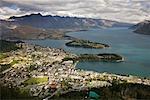 Vue d'ensemble de Queenstown, île du Sud, Nouvelle-Zélande