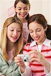 Girls Looking at Digital Camera