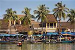 Riverboats at Waterfront, De Vong River, Hoi An, Vietnam
