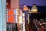Buildings illuminated at night, Himeji, Japan