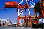 Low angle view of cranes at a port, Nanko Port, Osaka, Japan
