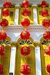 Bâtiment avec des lanternes chinoises, China Town, Singapour