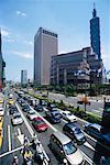Taipei World Trade Center and Taipei 101 Tower and Busy Street Scene, Taipei, Taiwain