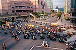 Mopeds Crossing Street, Taipei, Taiwan