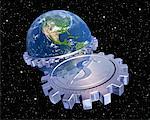 Globe avec engrenages et signe Dollar