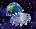 Globe avec engrenages et signe Yen