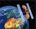 Communication Satellite Above Earth