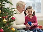 Jeune fille et la grand-mère d'échanger des cadeaux de Noël