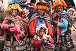 Portrait of Women and Children At Market, Pisac, Peru