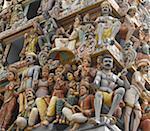 Gros plan de Hindu Temple de Sri Mariamman, Singapour