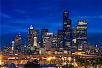 Skyline de Seattle dans la nuit, Washington, USA