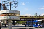 World Time Clock and Streetcar in Alexanderplatz, Berlin, Germany