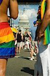 Gay parade devant un bâtiment du Capitol Building, Washington DC, USA