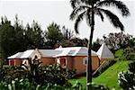 Vue latérale des bâtiments avec toit blanc, Bermudes