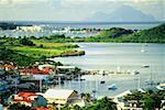 Vue d'ensemble des Simpson Bay sur l'île néerlandaise de St Maarten dans les Caraïbes.