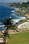 High angle view of El Morro Fort along a coastline, San Juan, Puerto rico