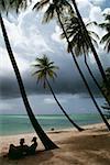 Vue sur une belle plage sur une journée nuageuse, Pigeon Point, Tobago