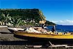 Vue arrière des pêcheurs portant des chapeaux de paille debout près de bateaux de pêche, Martinique