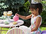 Girl Pouring Tea at Tea Party
