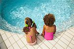 Girls Sitting on Pool Side