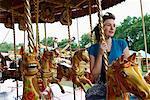 Woman on Merry-Go-Round, Carters Steam Fair