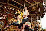 Woman on Merry-Go-Round, Carters Steam Fair, England